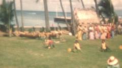 Old Vintage Film Hawaiian Hula Dancers Show Ethnic Costumes Beach Girls Islands  Stock Footage