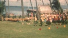 Old Vintage Film Hawaiian Hula Show Grass Skirts Dancing Girls Leis Beach Fun  - stock footage
