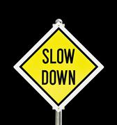 Slow Down yellow road sign isolated Stock Photos