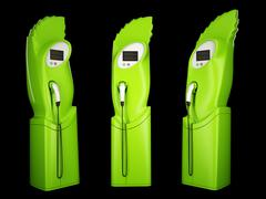 eco friendly transport: charging stations for electric autos - stock photo