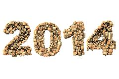 3d 2014 date build with wood particles - stock photo