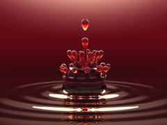 splash of red colorful liquid or wine with droplets - stock illustration
