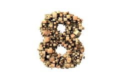 number eight shape  build with wood particles - stock photo