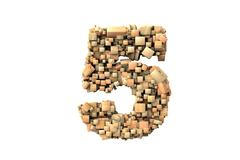 number five shape  build with wood particles - stock photo