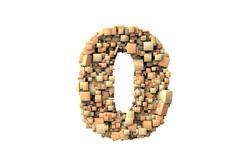 number zero shape  build with wood particles - stock photo