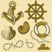Vintage marine elements set. Includes anchor, rope, wheel, and shells. Stock Illustration
