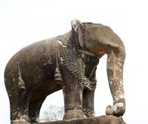 elephant sculpture at pre rup, angkor, cambodia - stock photo