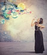 creative fashion girl with soap ball - stock photo