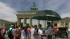 Brandenburg Gate DDR Visa - Berlin, Germany Stock Footage