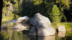 Merced river boulders Stock Footage