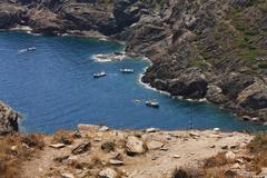 Boats at cap de creus, gerona. costa brava. spain Stock Photos