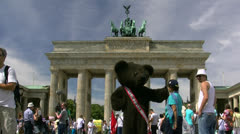 Berlin Bear at Brandenburg Gate - Berlin, Germany Stock Footage
