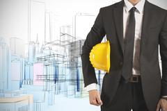 ready businessman architect with yellow helmet - stock illustration