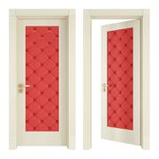 Two classic doors with red upholstery Stock Illustration