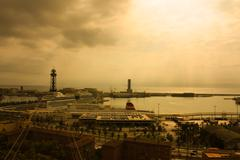 Panoramic of port of barcelona Stock Photos