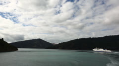 Interislander ferry, Queen Charlotte Sounds - stock footage