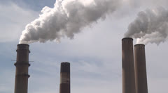 Stock Video Footage of Smoke Stack, Factory, Industry, Global Warming, 2D, 3D