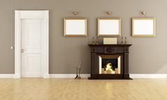 Classic livingroom with fireplace Stock Illustration