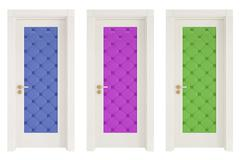 Three classic doors with leather upholstery Stock Illustration