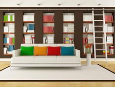 Brown living room with bookcase Stock Illustration