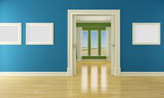 Empty interior with sliding door and window Stock Illustration