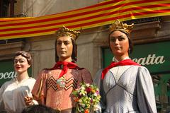 Giant in traditional festivals barcelona. Stock Photos