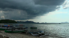 Timelapse cloudy sky at Flores beach in Indonesia Stock Footage