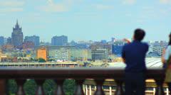 Tourists on observation deck Vorobyovy Gory time lapse Stock Footage
