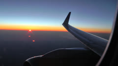 Sunset Plane Wing Stock Footage
