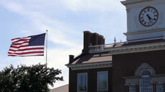 Victorian Building with American Flag Stock Footage