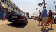 Stock Video Footage of Police Squad Car Patrolling Venice Beach Boardwalk