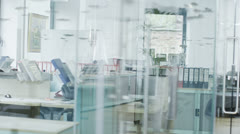 View around a stylish contemporary office space with no people Stock Footage