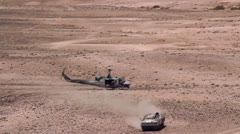 Helicopter Takeoff Desert 01 Stock Footage