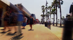 Time Lapse- POV Riding Bicycle On Venice Beach Boardwalk 3 Stock Footage