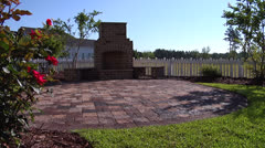 Outdoor fireplace and patio, static @ 2100% Stock Footage