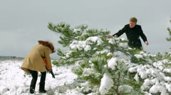 Snowball fight. Slow motion Stock Footage