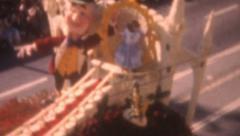 Old Vintage Film 1959 Rose Parade Walt Disney Alice Wonderland Float Stock Footage