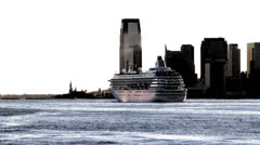 Cruise and Statue of Liberty Stock Footage
