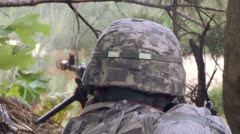 Soldier Firing Machine Gun 01 Stock Footage