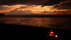 Bonfire On Beach In Costa Rica HD Video - stock footage