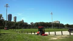 Power mower cutting grass Stock Footage