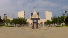 Stock Video Footage of Los Angeles Memorial Coliseum Entrance Plaza 1