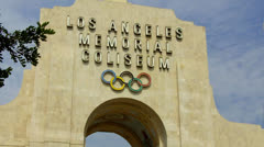 Stock Video Footage of Los Angeles Memorial Coliseum Entrance Sign
