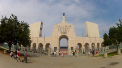 Los Angeles Memorial Coliseum Entrance With Tourists Stock Footage