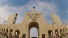 The Los Angeles Memorial Coliseum Entrance Stock Footage