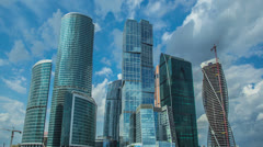 Moscow sky-scrapers & clouds timelapse,RAW VIDEO: QFHD,4K & 1080p resolutions Stock Footage