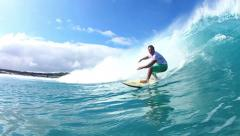 Surfer Riding Blue Ocean Wave Watershot Stock Footage