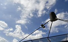 Satellite signal wave receiver dish for television 203 - stock photo