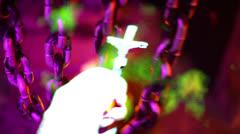pray prayer in hell crucifix - stock footage