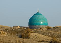 Dome of mosque and desert sand, bukhara, uzbekistan Stock Photos